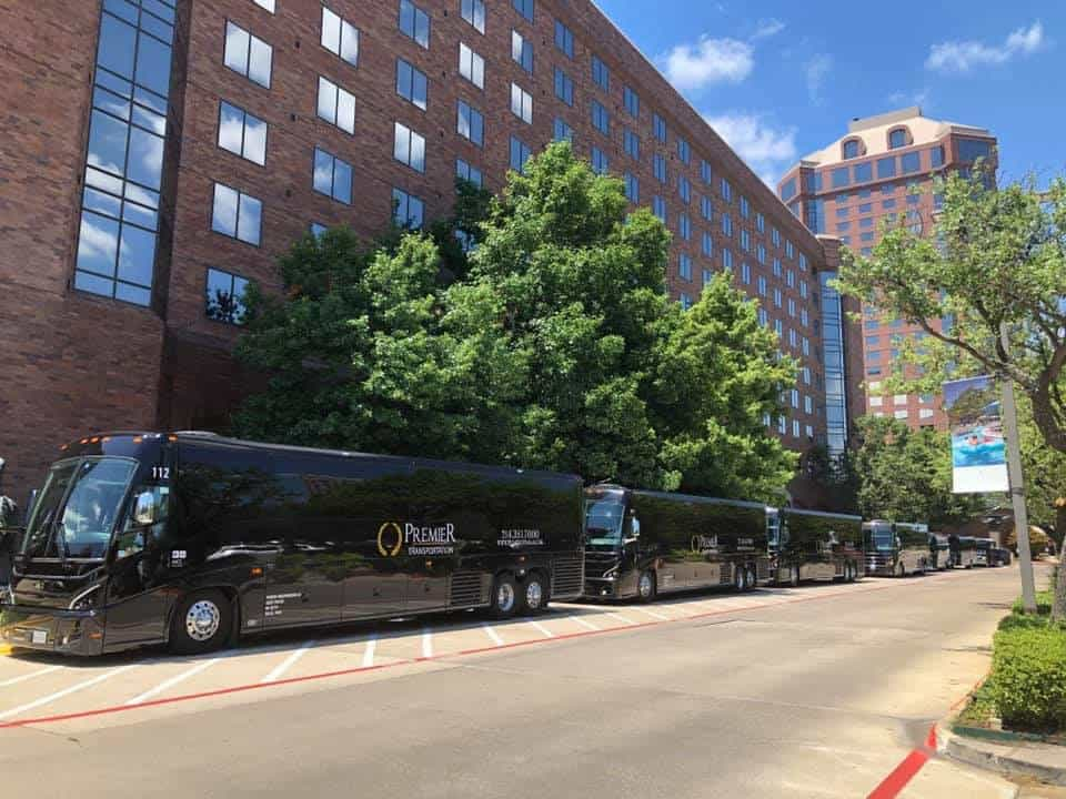 Coach Buses lined up ready for pickup